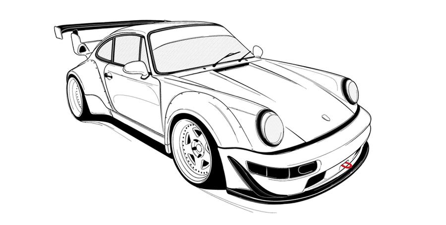 rwb porsche drawing sketch coloring page