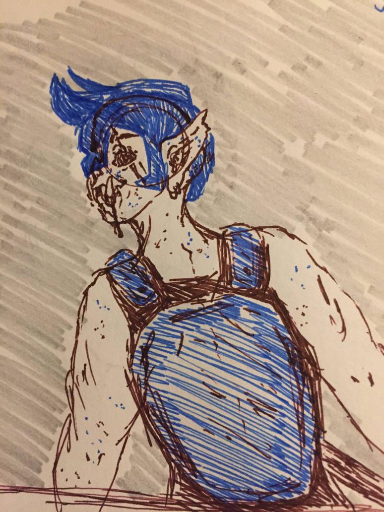 Orc pen sketch  by RedRaven600