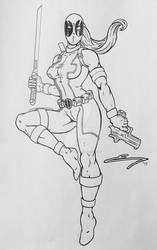 Lady Deadpool Lineart
