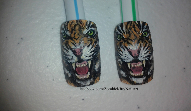 Tiger Nail Art - Detail by ZombieKittyNails ... - Tiger Nail Art - Detail By ZombieKittyNails On DeviantArt