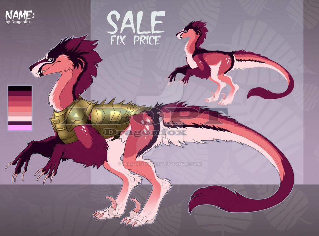 [SALE Adopt] Fluffy dinosaur. OPEN!!! by DragonFoxAdopts