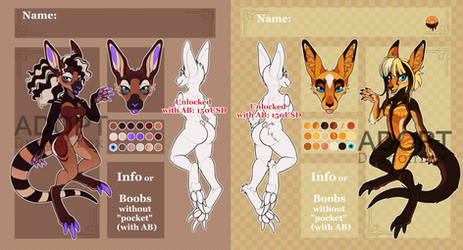 SALE Adopt AUCTION Girls kangaroo/wallaby. OPEN!! by DragonFoxAdopts