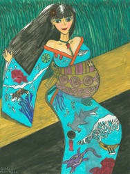Kimono clad pregnant beauty