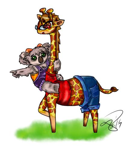 [commisson] Giraffe and Koala by AgiiChan