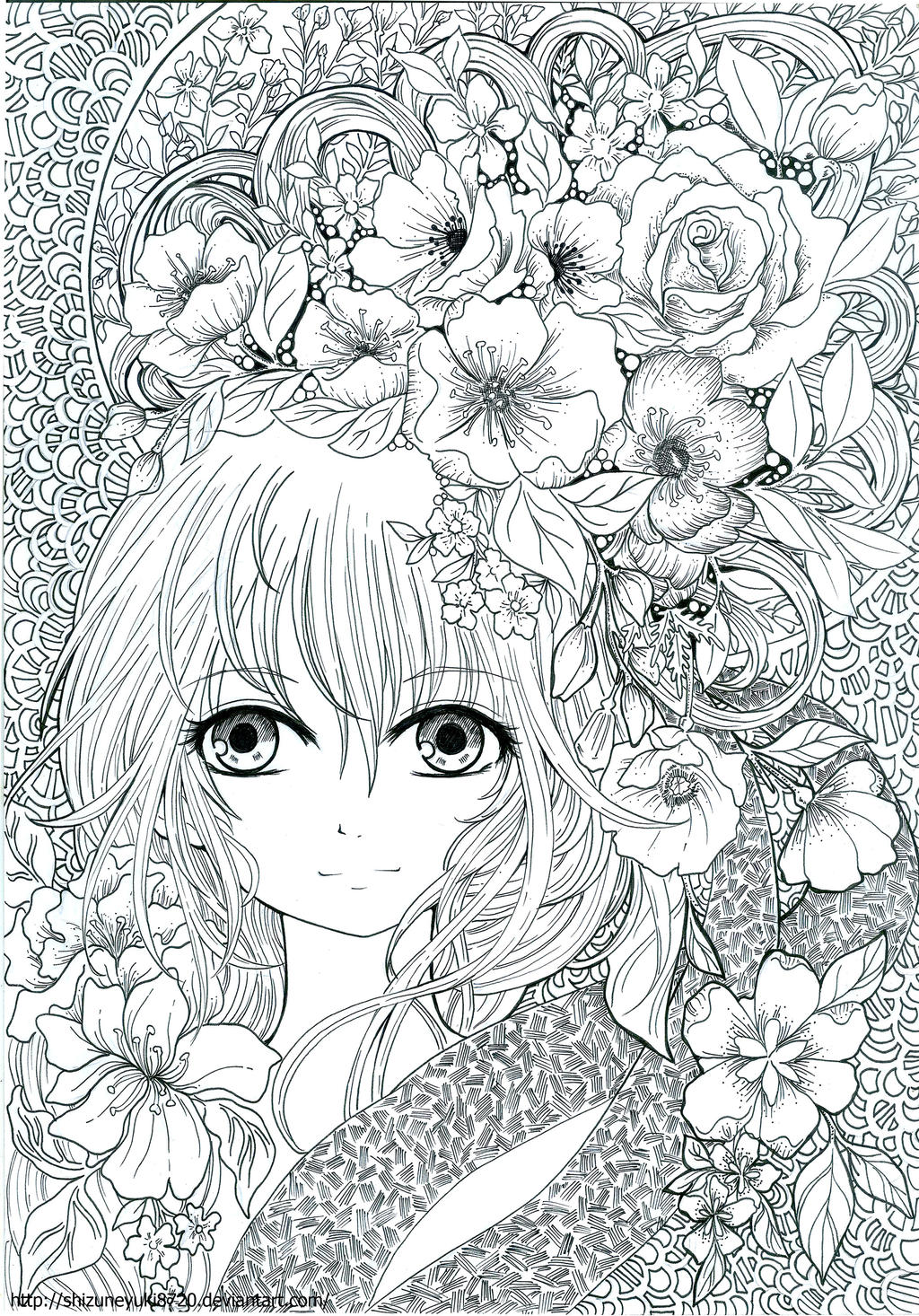 coloring book floral fantasy page 20 by shizuneyuki8720
