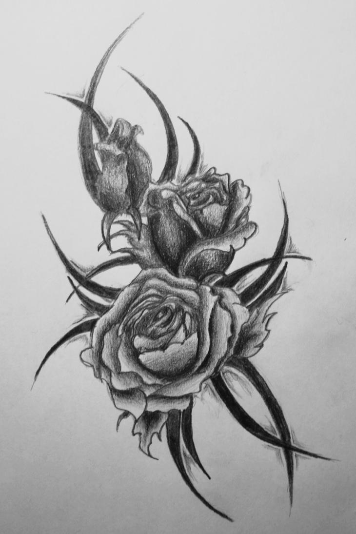 rose tattoo by pr0plemkid on deviantart. Black Bedroom Furniture Sets. Home Design Ideas