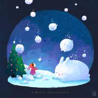 Snowing rabbit by minayuyu