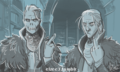 Warden and Anders in Skyhold by ZarathePirate