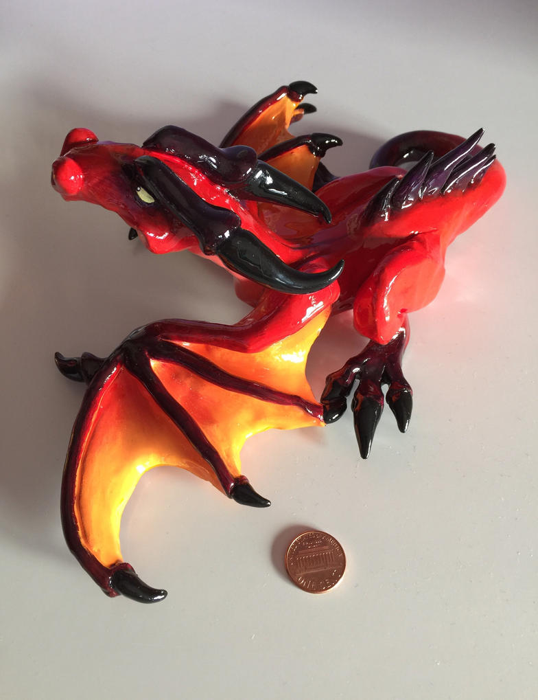 Fire Red Baby Dragon Sculpture by SarahMiele
