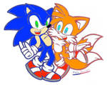 Sonic And Tails Blue And Red (Colored)