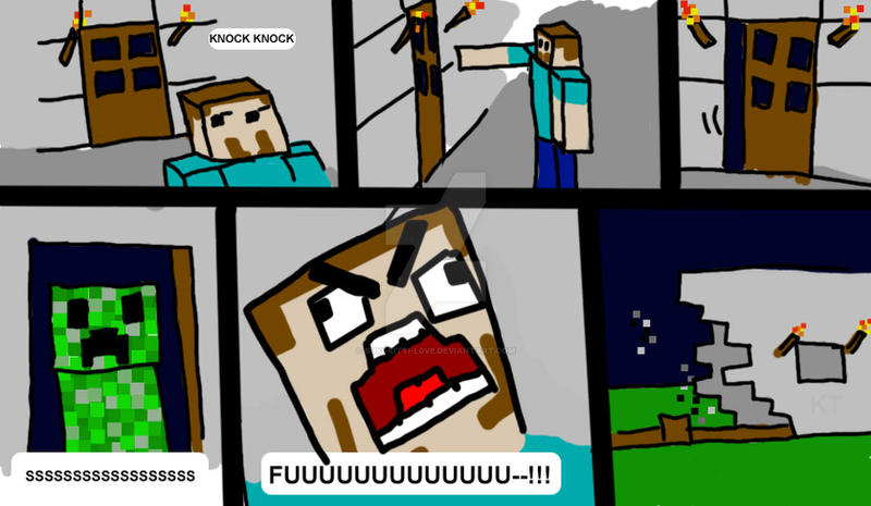 Minecraft Comic 1: The Creeper by suki-KITTI-L0VE