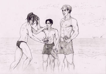 The beach - Hanji, Levi and Erwin by Lykusio
