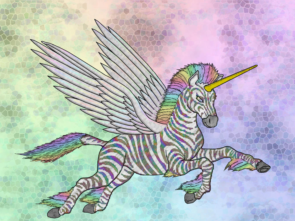 Unicorn With Wings And Rainbow Rainbow Zebra P...