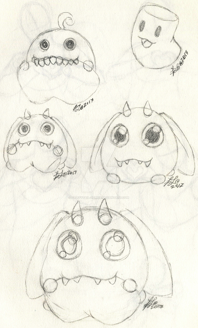 Marshmallow Monster design sketches by Fluffytail-Zombie