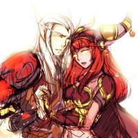 Red queen and consort by DejiNyucu