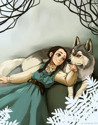Arya and Nymeria by DejiNyucu