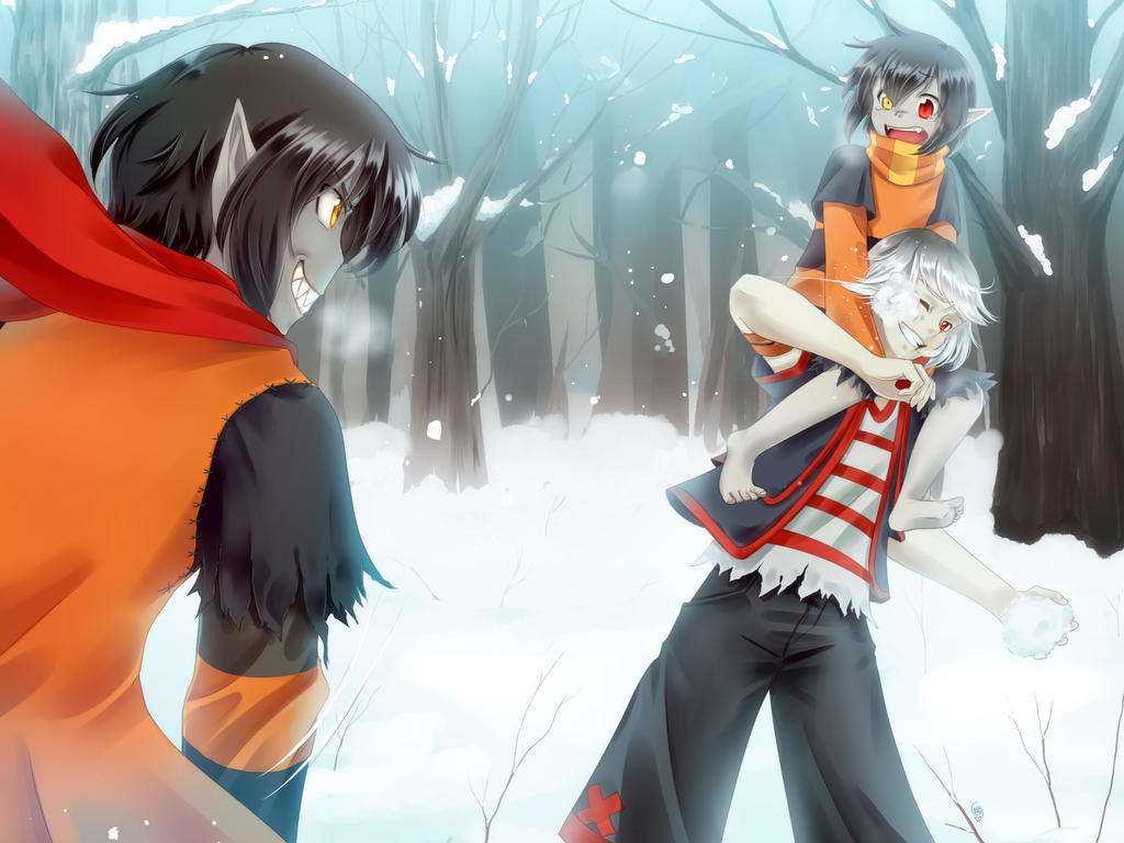Commission - snow fight! by DejiNyucu