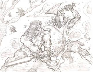 Conan vs DeathDealer by timmytom