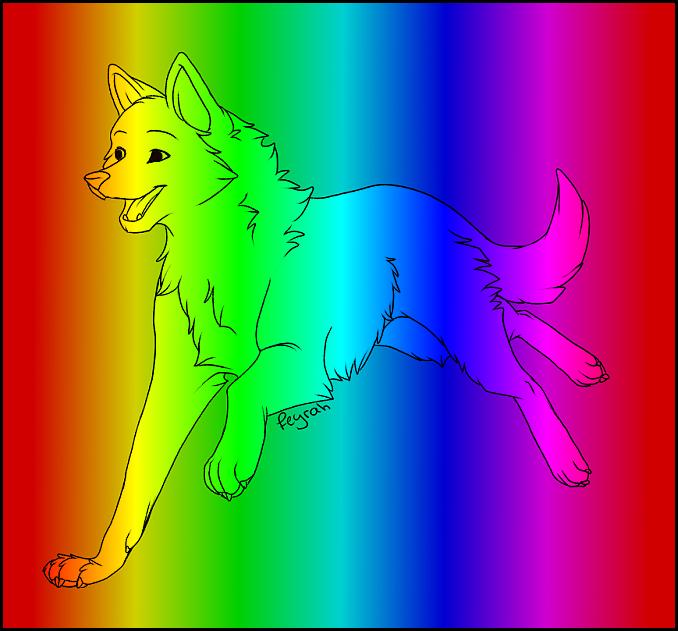 Rainbow wolf by SpyroGirl22