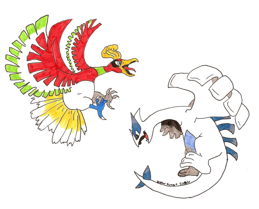 Ho-Oh and Lugia by SpyroGirl22