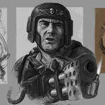 Imperial Guardsman Heavy Flamer Portrait Sketch