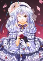 The Lady and a Crimson Rose by kuridoki