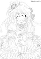 Lady and Rose - Lineart by kuridoki