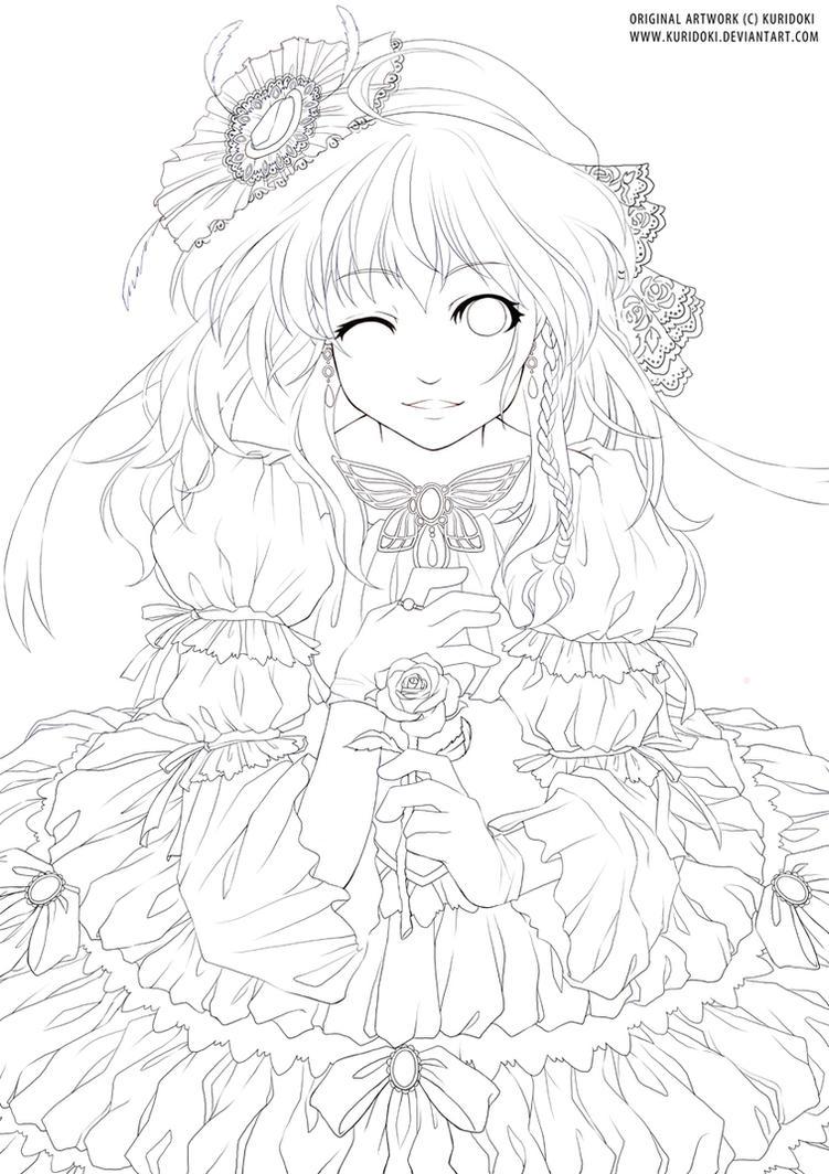 Line Drawing Lady : Lady and rose lineart by kuridoki on deviantart