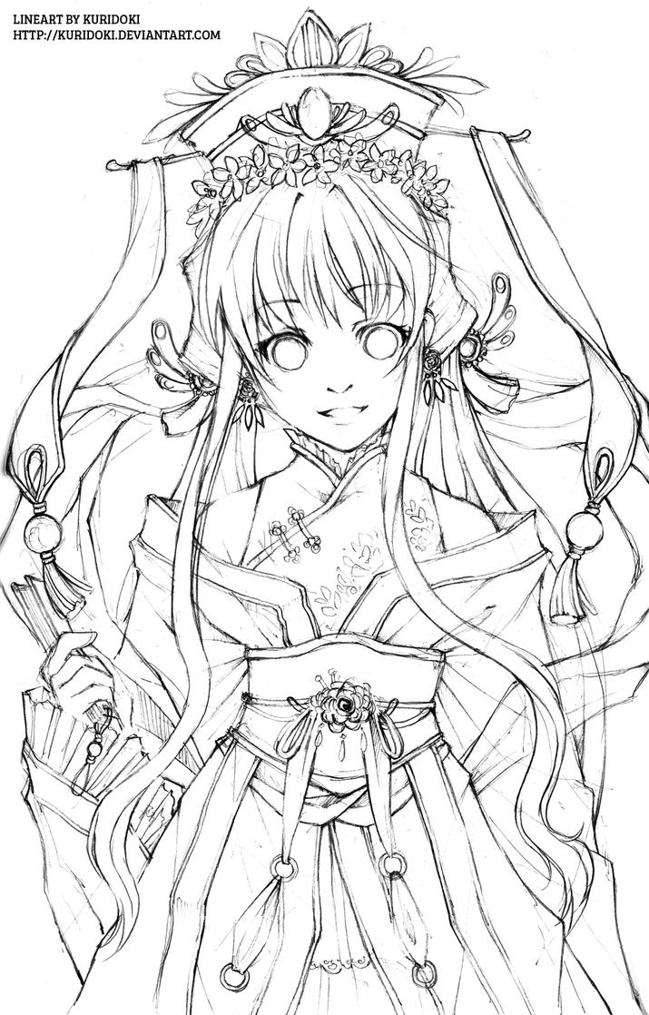 D Line Drawings : Hana hime lineart by kuridoki on deviantart