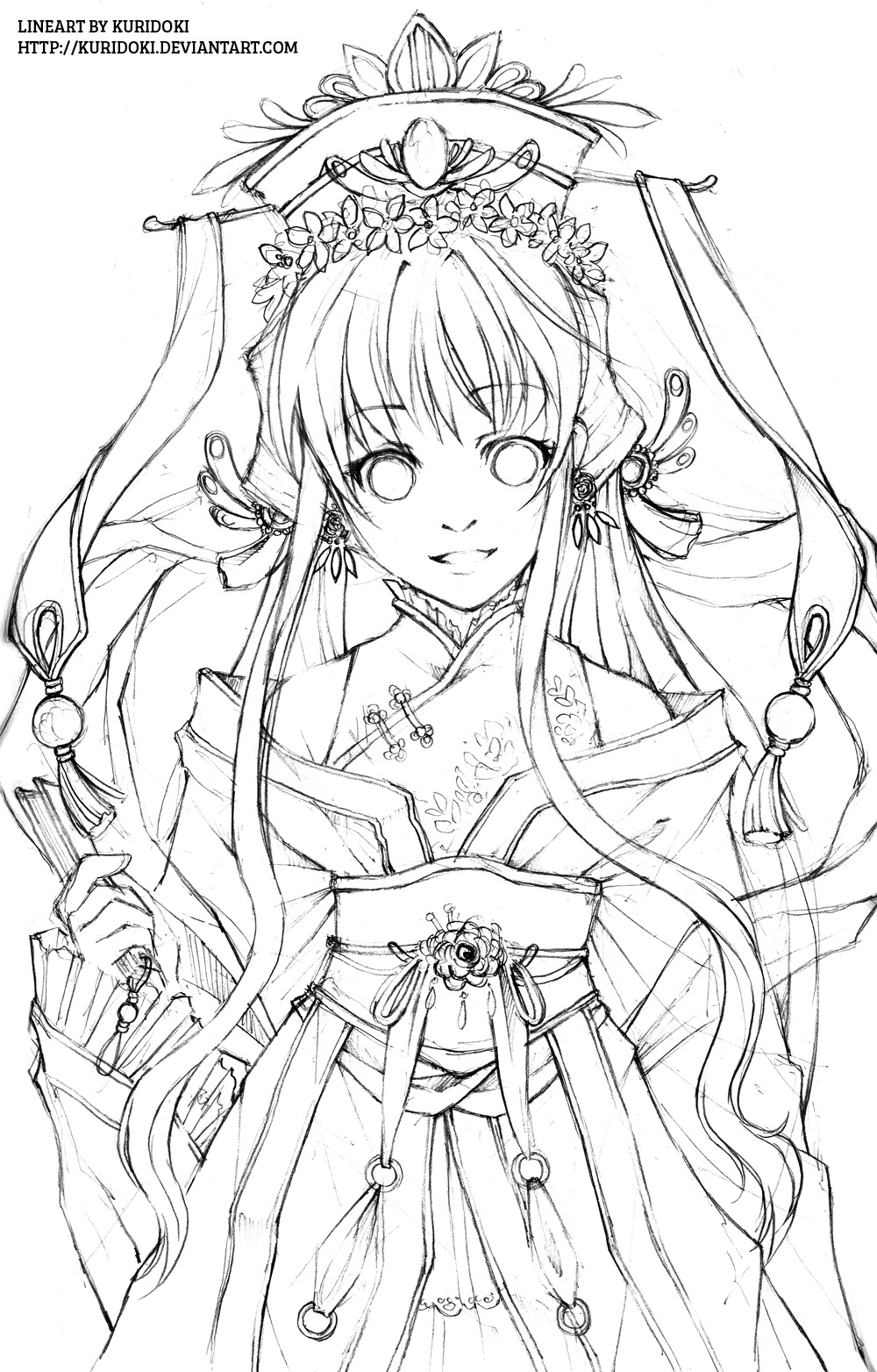 Line Drawing Of Artist : Hana hime lineart by kuridoki on deviantart