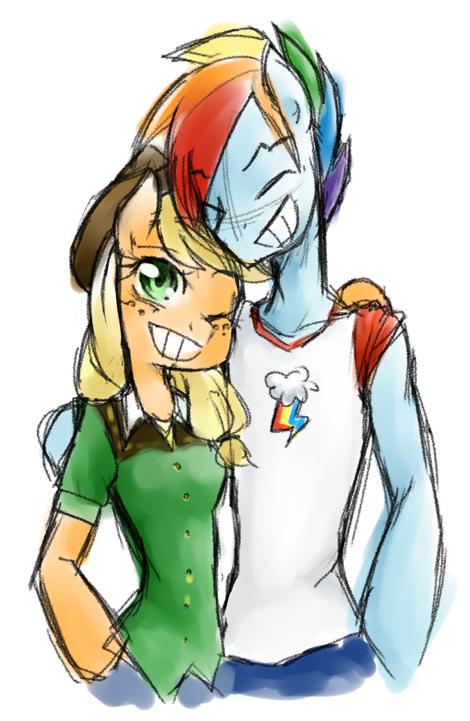 Commission: Friendly AppleBlitz hug by Annie-Aya