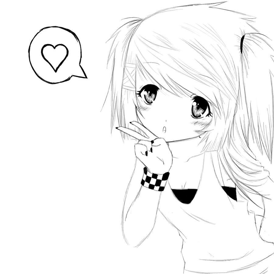 Anime Girl Lineart : Image gallery lineart anime