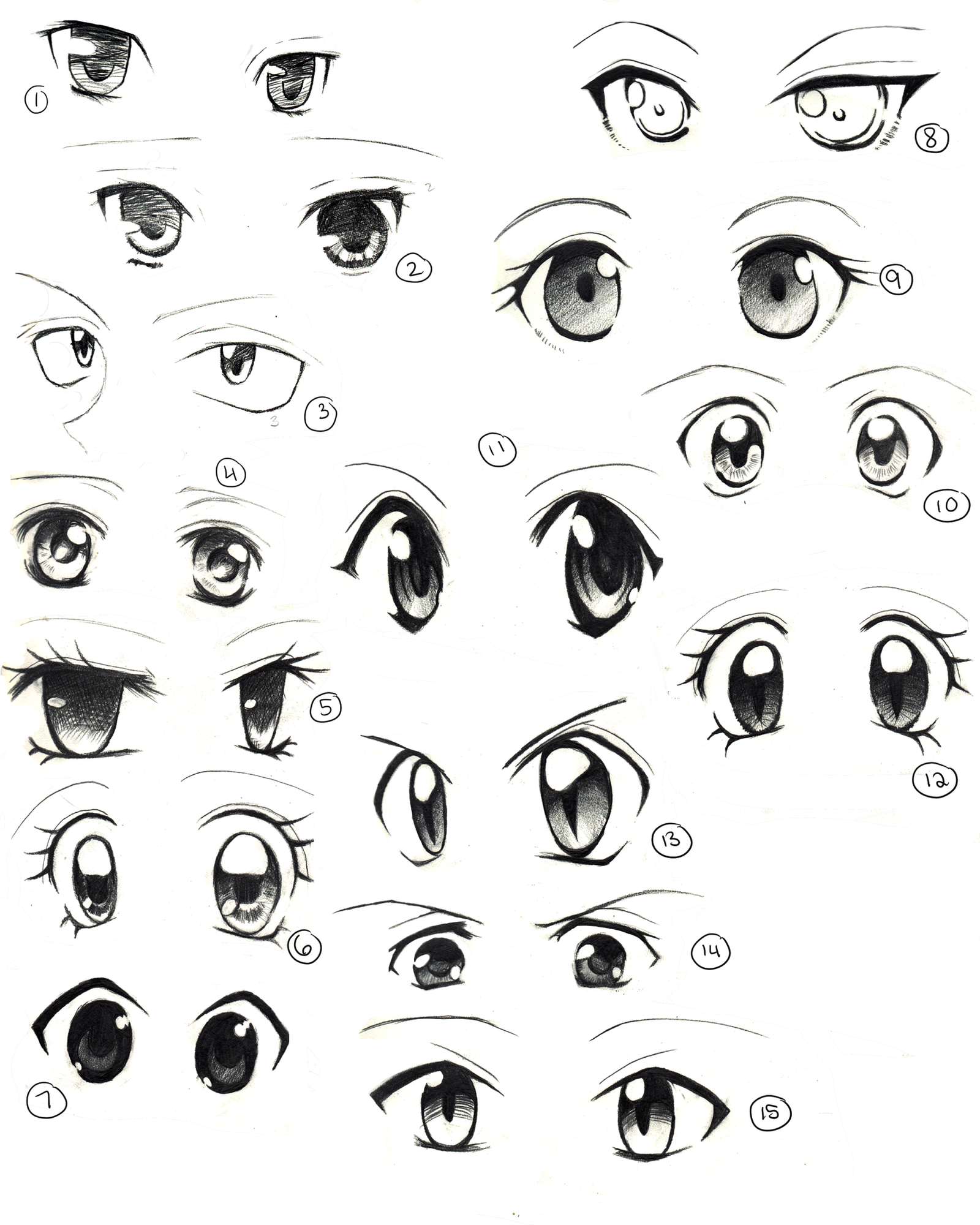This is a photo of Peaceful Cute Anime Eyes Drawing