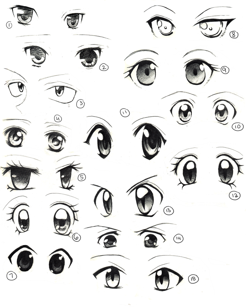 Anime eyes practice by saflam on deviantart for How to draw a girl looking down