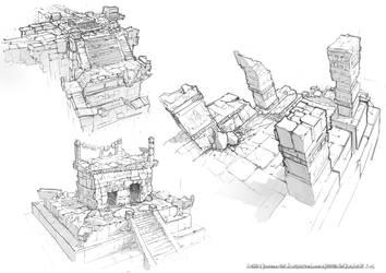 Sketching : ancient culture buildings 01 by Raf-al