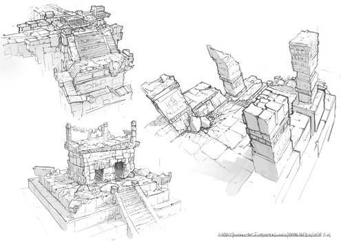 Sketching : ancient culture buildings 01