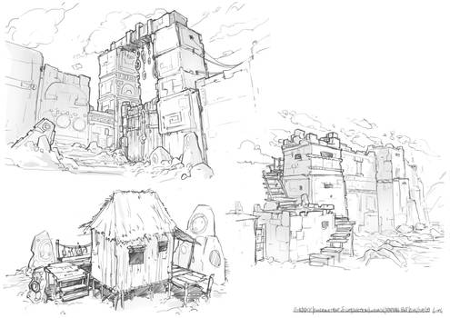 Sketching : ancient culture buildings 02