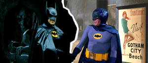 Nightmarish Batman meets Pleasantville-ish Batman