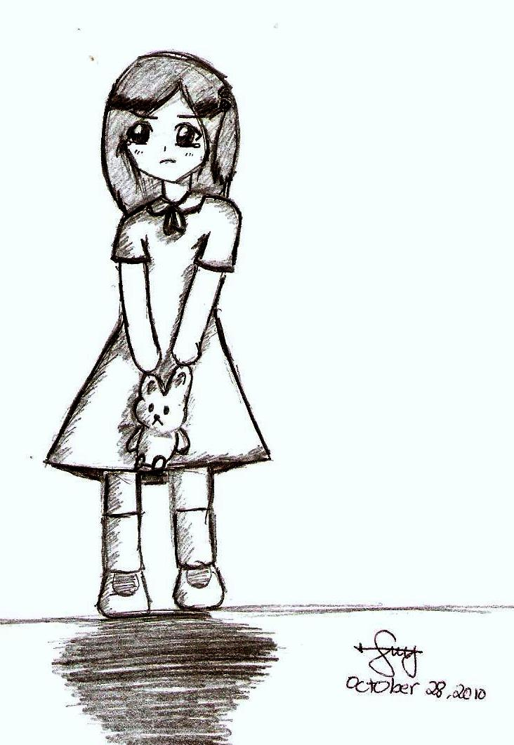 A sad little girl by vidiescal123