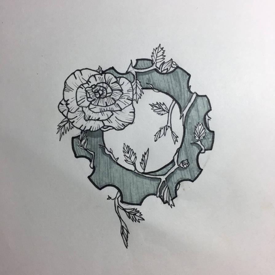 Rose And Gear Tattoo Design By Kyuketsuki0 On Deviantart