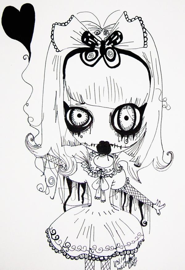 how to draw creepy dolls
