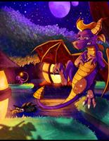 Spyro - A Spooky, Rainy Night by Turquoisephoenix