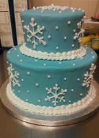 Blue Snowflake Birthday Cake by ayarel
