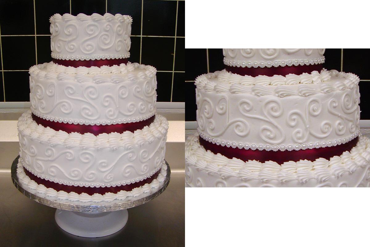 Lace Cake Wedding Fancy Red Buttercream