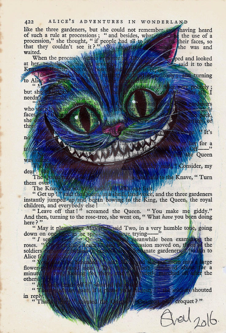 Alice In Wonderland Cheshire Cat Book Page Print By Silverscape On
