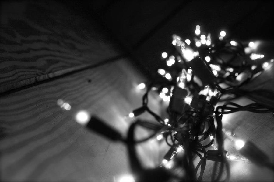 Black and white christmas lights by biggestfanofdfa on