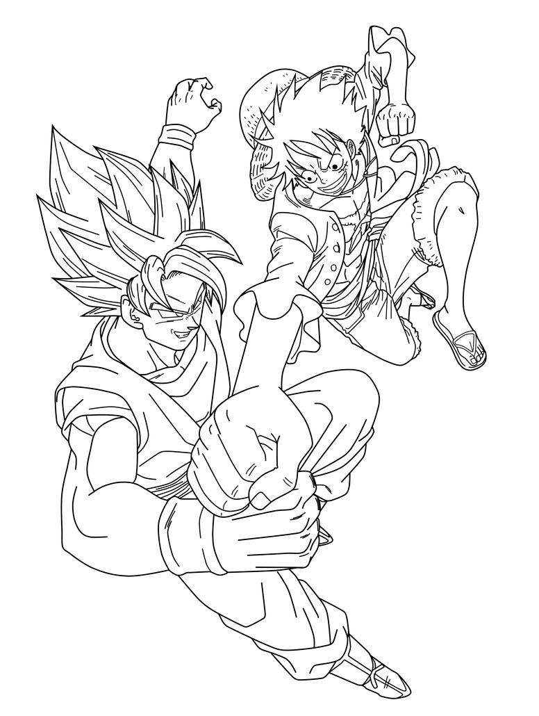 Line Drawing Vs Value Drawing : Goku vs luffy lineart by saodvd on deviantart