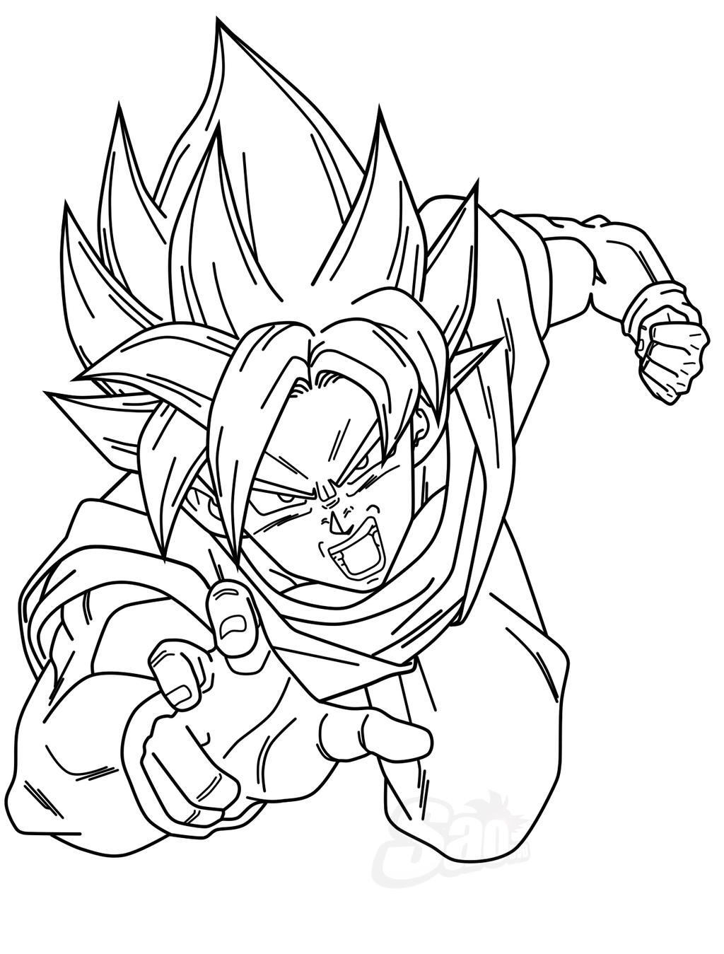 Goku SSGGSS - Lineart by SaoDVD on DeviantArt