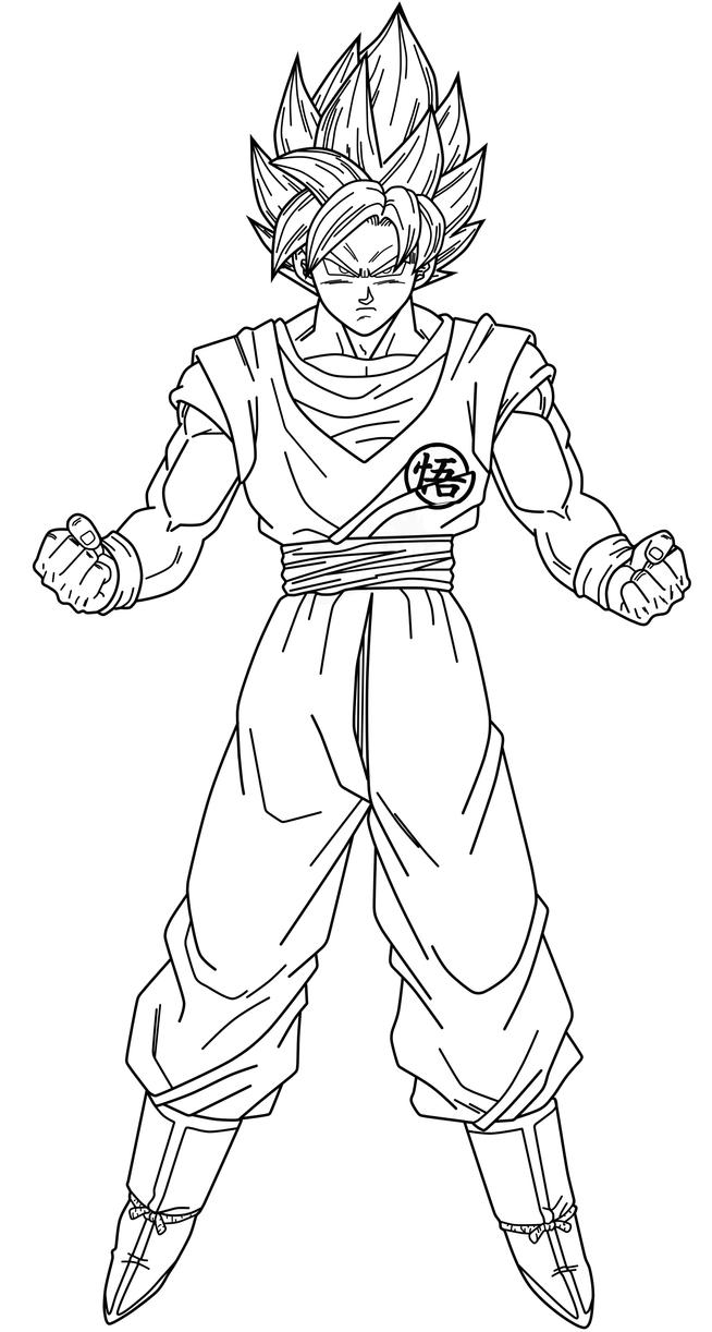 Goku SSJ Blue  Lineart by SaoDVD on DeviantArt