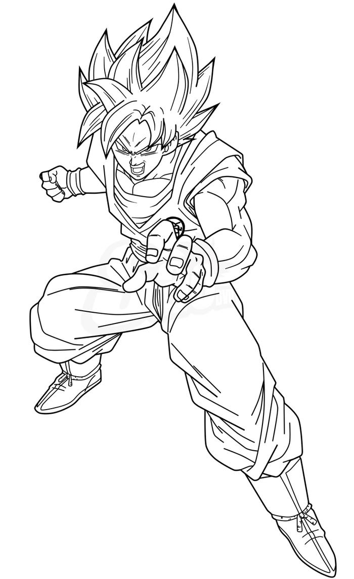Goku ssjb lineart by saodvd on deviantart for Dragon ball z cell coloring pages